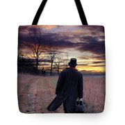 Man In Top Hat With Bag Walking Tote Bag