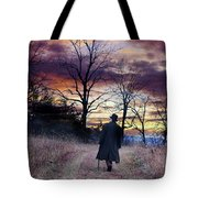 Man In Top Hat With Cane Walking Tote Bag