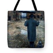 Man In Vintage Clothing With Umbrella On Rainy Brick Street Tote Bag