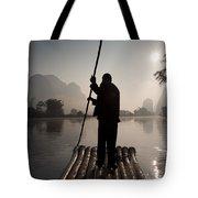 Man On Raft In Mountain Area Yulong Tote Bag