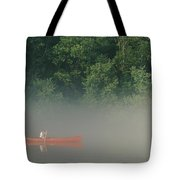 Man Paddling Canoe In Mist, Roanoke Tote Bag