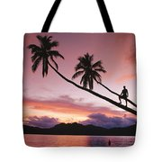 Man, Palm Trees, And Bather Silhouetted Tote Bag