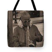 Man Playing His Saxophone Tote Bag