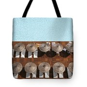 Man Swimming In Pool By Sunloungers Tote Bag