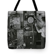 Man Testing Early Television Equipment Tote Bag
