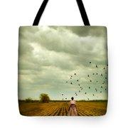 Man Walking In A Farm Field Tote Bag