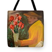 Man With Flowers  Tote Bag