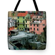 Manarola Houses On The Cinque Terre II Tote Bag