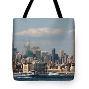 Manhattan Skyline And Ferry Traffic Tote Bag