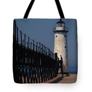 Manistee Harbor Lighthouse And Cat Walk Tote Bag