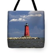 Manistique Lighthouse In Michigan's Upper Peninsula Tote Bag