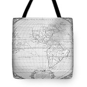 Map Of The New World 1587 Tote Bag