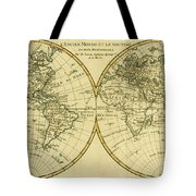 Map Of The World In Two Hemispheres Tote Bag