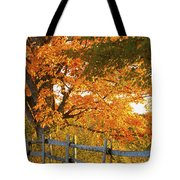 Maple Trees And A Rail Fence In Autumn Tote Bag