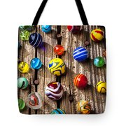 Marbles On Wooden Board Tote Bag