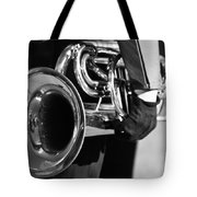 Marching Band Horn Bw Tote Bag