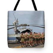 Marines And Sailors Run Aboard Uss Tote Bag