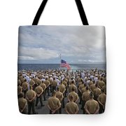 Marines And Sailors Stand In Formation Tote Bag