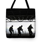 Marines Conduct Rifle Movement Drills Tote Bag