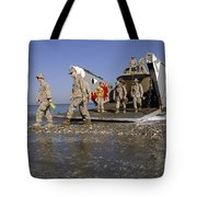 Marines Disembark From A Landing Craft Tote Bag