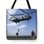 Marines Fast Rope From A Ch-46e Sea Tote Bag