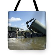 Marines Lower An Improved Ribbon Bridge Tote Bag