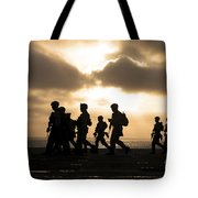 Marines Move To A Firing Line Tote Bag