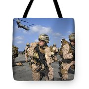 Marines Position Themselves Tote Bag