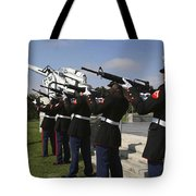 Marines Practices Drill Movements Tote Bag