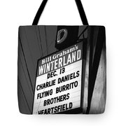 Marquee At Winterland In Late 1975 Tote Bag