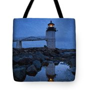 Marshall Point Lighthouse In Winter Storm. Tote Bag