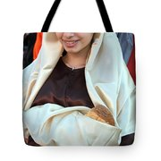 Mary And Baby Jesus At The Christmas March In Bethlehem Tote Bag