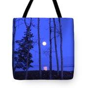 May Moon Through Birches Tote Bag