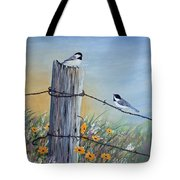 Meeting At The Old Fence Post Tote Bag