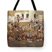 Men And Boys Bathe At An Ancient Ghat Tote Bag