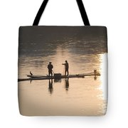 Men On A Raft Fishing Tote Bag