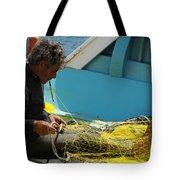 Mending His Nets Tote Bag