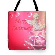 Merry Christmas Cherub And Rose Tote Bag