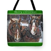 Merry Christmas Horses At Sawmill Tote Bag
