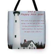 Merry Christmas Lighthouse Tote Bag