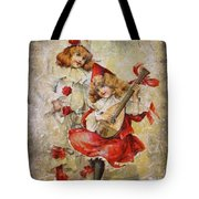 Merry Making Antique Girls In Red And White Grunge Tote Bag
