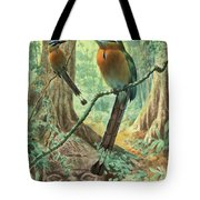 Mexican Motmots Are Perched On Jungle Tote Bag