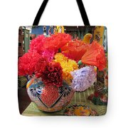 Mexican Paper Flowers And Talavera Pottery Tote Bag