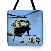 Mh-60s Sea Hawk Helicopters In Flight Tote Bag