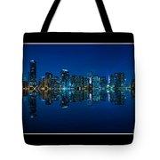 Miami Skyline Night Panorama Tote Bag