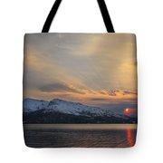 Midnight Sun Over Tjeldsundet Strait Tote Bag