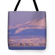 Midnight Sunlight On Polar Mountains Tote Bag