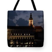Mikulov Castle At Night Tote Bag by Michal Boubin