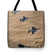 Military Fighter Jets Fly In Formation Tote Bag