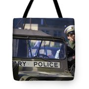 Military Policeman Stands Next Tote Bag by Michael Wood
